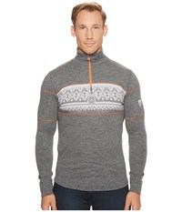 Dale Of Norway Rondane Masculine T Smoke White Orange Peel Men's Sweater Gray