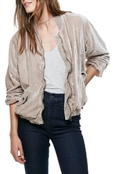 Free People Women's Ruched Velvet Bomber Jacket