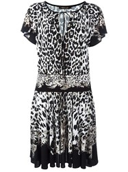 Roberto Cavalli Leopard Print Flared Dress Black
