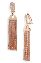 Vince Camuto Pave Tassel Earrings Rose Gold