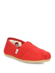 Toms Classics Cotton And Suede Slip Ons Red
