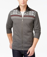 Club Room Big And Tall Sherpa Lined Full Zip Mock Neck Sweater Only At Macy's Dark Lead Heather