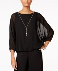Msk Chiffon Batwing Sleeve Blouse With Necklace Black