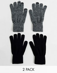 New Look Touch Screen Gloves In 2 Pack Black