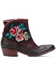Fausto Zenga Embroidered Western Boots Women Leather Nubuck Leather Rubber 38