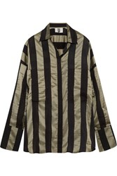 Topshop Unique Duvall Oversized Striped Satin Shirt Army Green