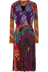 Etro Printed Crepe Wrap Dress Red