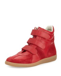 Maison Martin Margiela Triple Strap Leather And Suede High Top Sneaker Red White