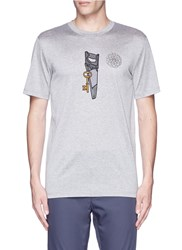 Lanvin Saw Icon Embroidery Patch T Shirt Grey