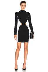 Thierry Mugler Pierced Fitted Cady Dress In Black White Black White