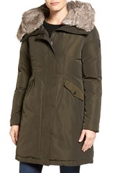 Vince Camuto Women's Faux Fur Trim Hooded Down And Feather Parka Forest
