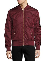 Members Only Long Sleeve Bomber Jacket Burgundy