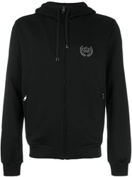 Dolce And Gabbana Embroidered Crown Zip Hoodie Black