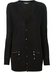 Dsquared2 Zip Pocket Detail Cardigan Black