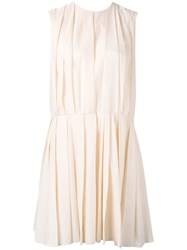 Marni Pleated Fit And Flare Dress Women Cotton 38 Nude Neutrals