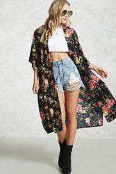 Forever 21 Floral Open Front Cardigan Black Red