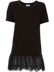 Twin Set Eyelet Lace T Shirt Black