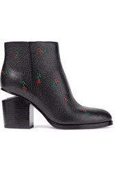 Alexander Wang Gabi Floral Print Textured Leather Ankle Boots Black