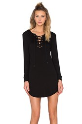 David Lerner Lace Up Long Sleeve Dress Black