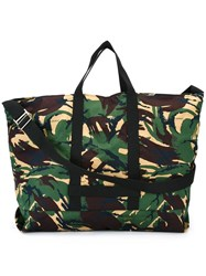 Off White Camouflage Print Tote Green