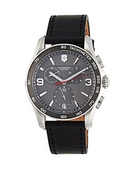 Victorinox Chronograph Stainless Steel And Leather Strap Watch Grey