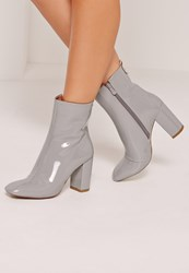 Missguided Patent Heeled Ankle Boots Grey