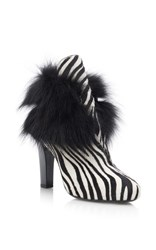 Lanvin Zebra And Fur Printed Leather Boots Black White