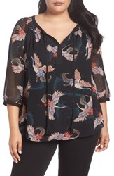d58db446e19565 Daniel Rainn Plus Size Bird Print Split Neck Top D362n Black