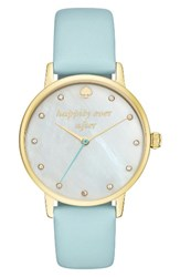Kate Spade Women's New York Metro Wish Leather Strap Watch 34Mm Mint Mother Of Pearl Gold