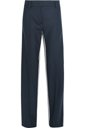 Cedric Charlier Striped Twill Wide Leg Pants Navy
