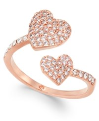 Kate Spade New York Rose Gold Tone Pave Heart Ring Clear Rose Gold