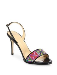 Giuseppe Zanotti Swarovski Crystal Accented Patent Leather Slingback Sandals Nero Multi