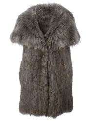 Meteo By Yves Salomon Oversized Collar Sleeveless Coat Grey
