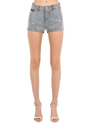 Philipp Plein Embellished Cotton Blend Denim Shorts Blue