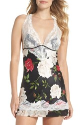 Black Bow 'Muse' Lace And Satin Backless Chemise Watercolor Rose