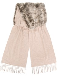 N.Peal Fur Panelled Cashmere Scarf Nude And Neutrals