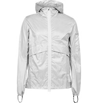 Satisfy Packable Reflective Printed Ripstop Hooded Jacket Silver