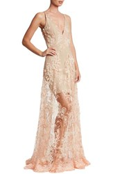 Dress The Population Women's Sidney Lace Gown Peach Nude