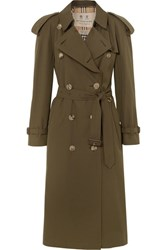 Burberry The Westminster Long Cotton Gabardine Trench Coat Army Green Gbp
