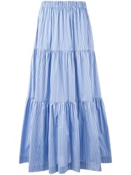 P.A.R.O.S.H. Long Tiered Skirt Blue