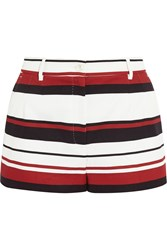 Dolce And Gabbana Striped Cotton Drill Shorts Red