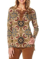 Rafaella Bohemian Print Faux Leather Lace Up Long Sleeve Tunic Safari