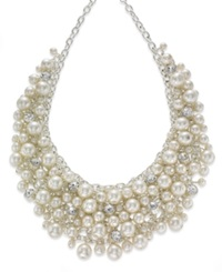 Charter Club Silver Tone Glass Pearl Cluster Bib Necklace