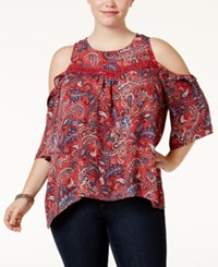 Eyeshadow Trendy Plus Size Cold Shoulder Top Clove Print