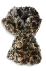 Sole Society Leopard Faux Fur Stole Brown Combo
