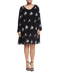 Chelsea And Theodore Plus Long Sleeve Embroidered Swing Dress Black White