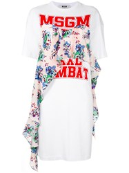 Msgm Logo Print T Shirt Dress White