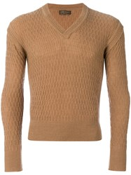Yves Saint Laurent Vintage V Neck Knitted Sweater Nude And Neutrals