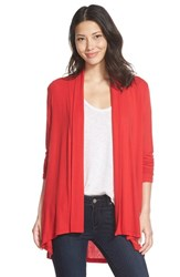 Bobeau Women's Long Cardigan Red Bloom
