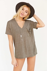 Truly Madly Deeply V Neck Slouch Pocket Tee Chartreuse